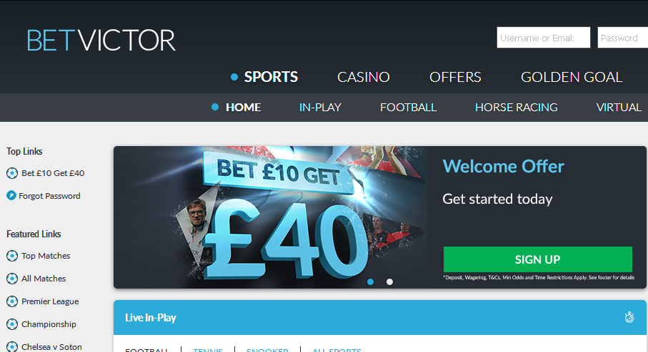 Bet victor online sports betting each way betting dartslive